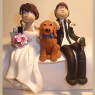 bride-groom-arm-around-dog-cake-topper