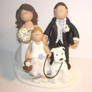 bride-groom-child-walking-dog-cake-topper