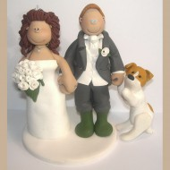 bride-groom-dog-getting-attention-cake-topper