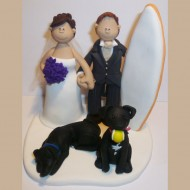 bride-groom-surfboard-2-dogs-cake-topper