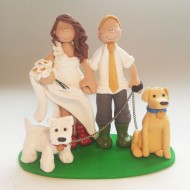 bride-groom-walking-dogs-cake-topper