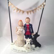 A Just Married Couple With Their Dogs Under Bunting