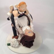 Groom Giving Bride Sunflower Cake Topper