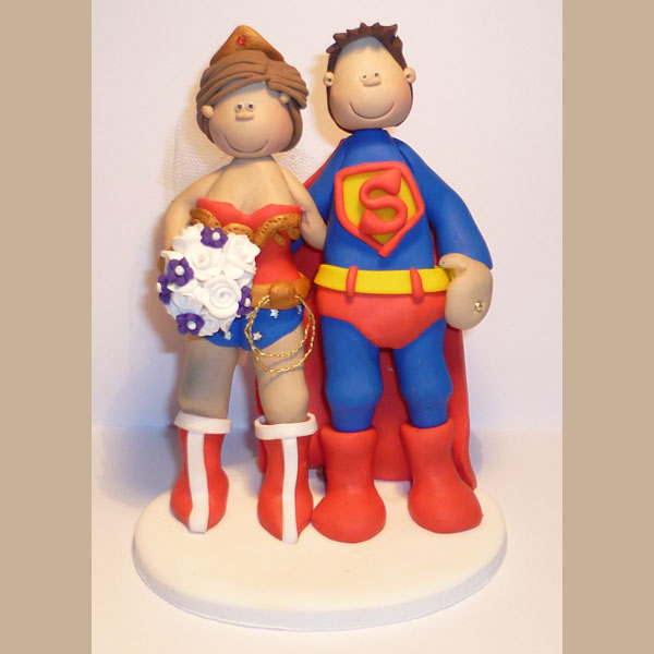 superman and wonder woman wedding cake toppers themed wedding cake toppers totally toppers 20615