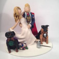 A Marvel Comic Fan With His Bride Dogs In This Topper